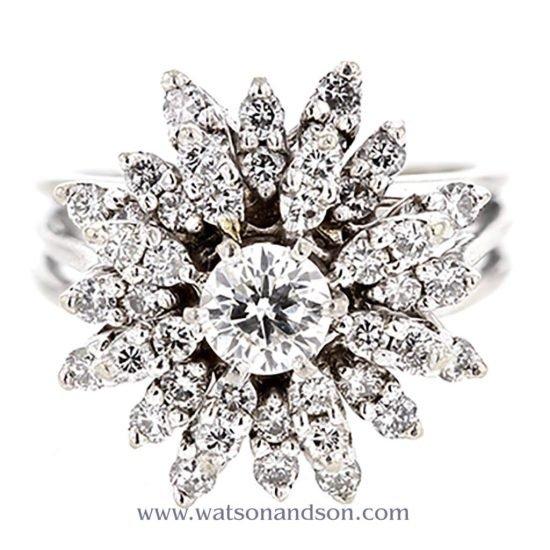 White Gold Diamond Cluster Ring 1
