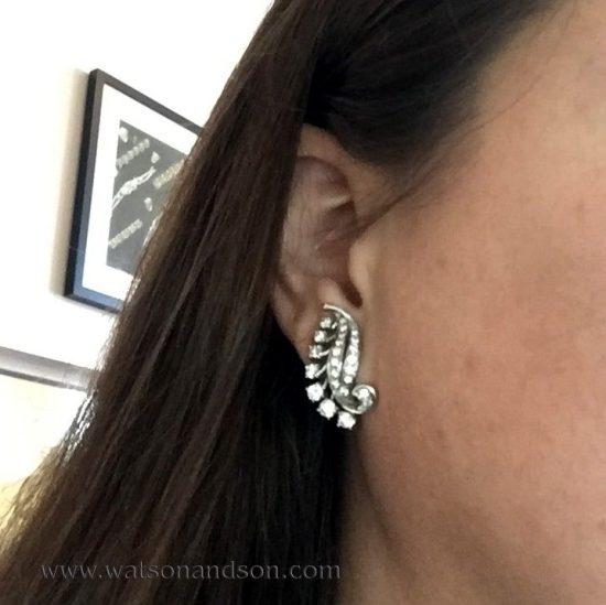 Mid Century Diamond Clip Earrings 3