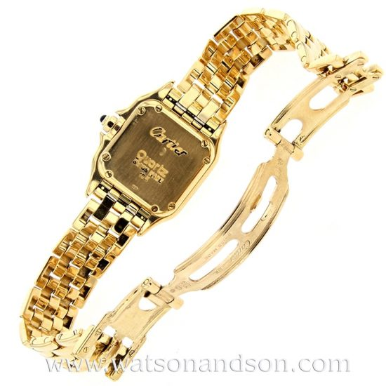 Ladies 18 Kt Yellow Gold Cartier Panther Bracelet Watch 2