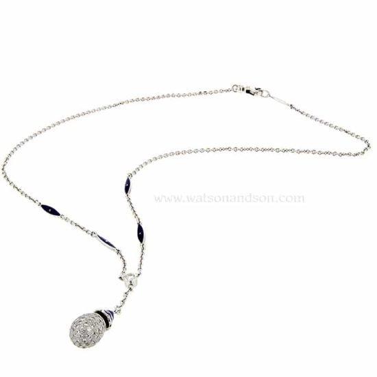 Pave Diamond Egg Lariat Necklace - Contemporary Faberge 1