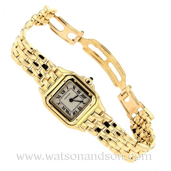 Ladies 18 Kt Yellow Gold Cartier Panther Bracelet Watch 5