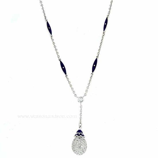 Pave Diamond Egg Lariat Necklace - Contemporary Faberge 2