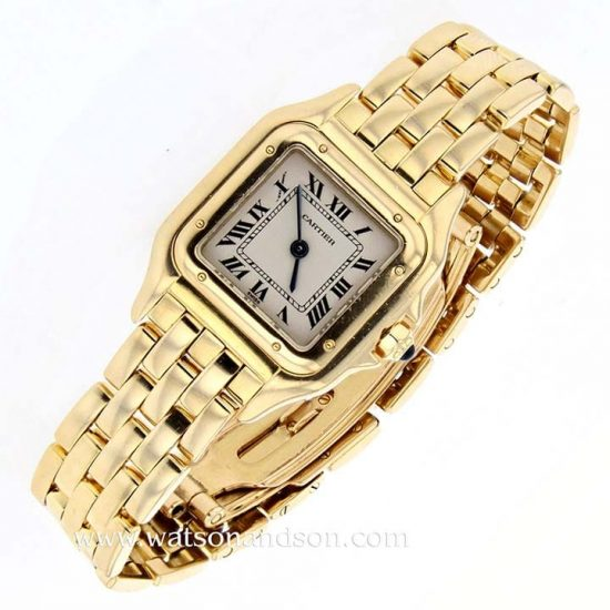 Ladies 18 Kt Yellow Gold Cartier Panther Bracelet Watch 1
