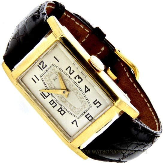 Mens Deco Style Yellow Gold Roamer Strap Watch 1