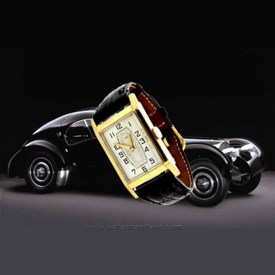 Mens Deco Style Yellow Gold Roamer Strap Watch 4