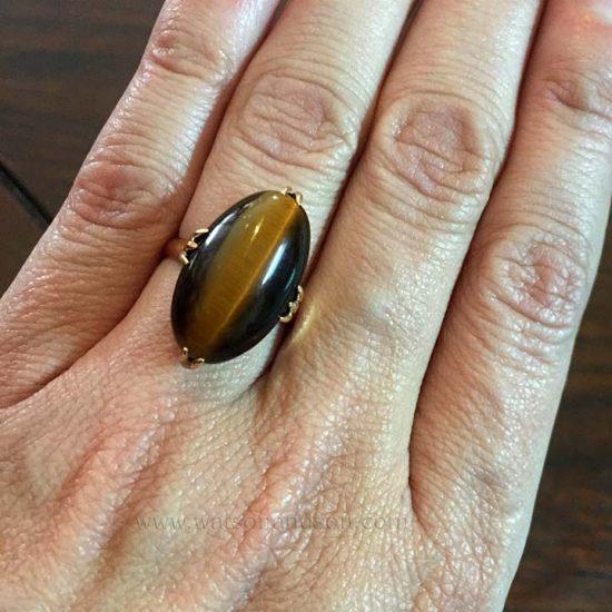 Cabochon Cut Tigers Eye Ring 6