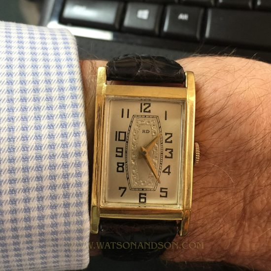 Mens Deco Style Yellow Gold Roamer Strap Watch 2