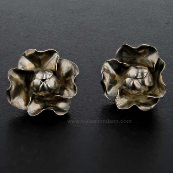 Sterling Silver Flower Buttons 1