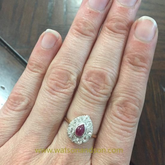Cabochon Ruby And Old Mine Cut Diamond Ring 4
