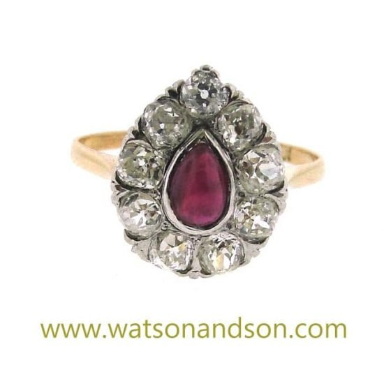 Cabochon Ruby And Old Mine Cut Diamond Ring 1