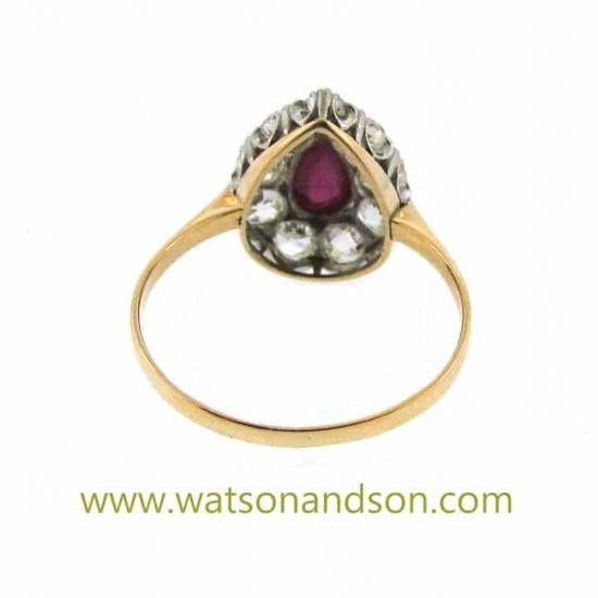 Cabochon Ruby And Old Mine Cut Diamond Ring 3