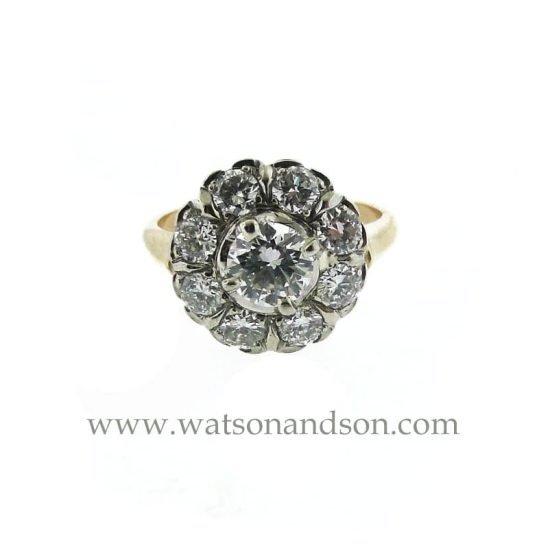 14k Vintage Halo Diamond Ring 1