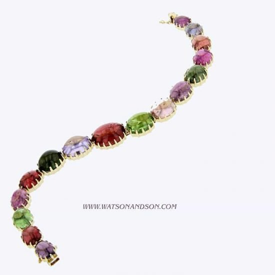 Cabochon Cut Rainbow Candy Bracelet 3