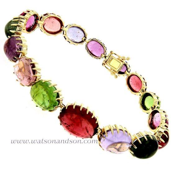 Cabochon Cut Rainbow Candy Bracelet 4