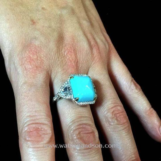 Sugar-Loaf Cabochon Cut Turquoise &Amp; Diamond Ring 2