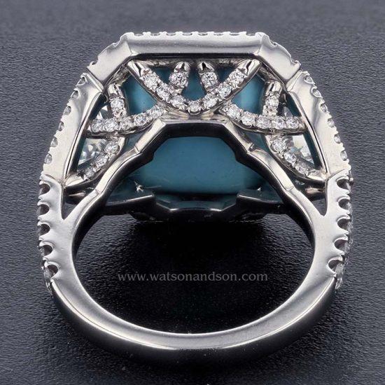 Sugar-Loaf Cabochon Cut Turquoise &Amp; Diamond Ring 3