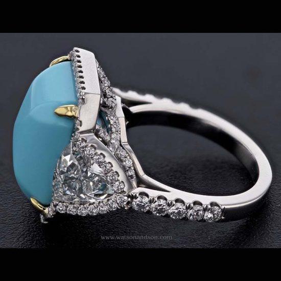 Sugar-Loaf Cabochon Cut Turquoise &Amp; Diamond Ring 4