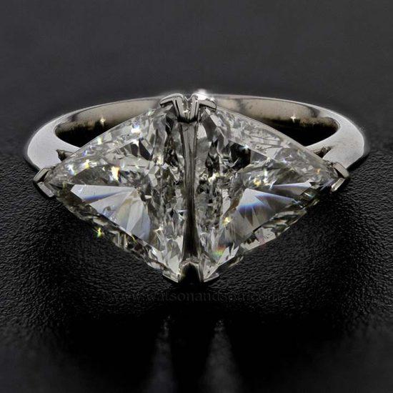 Custom Made Trilliant Cut Diamond Duo Ring 1