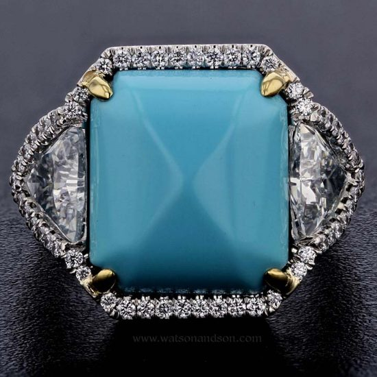 Sugar-Loaf Cabochon Cut Turquoise &Amp; Diamond Ring 5