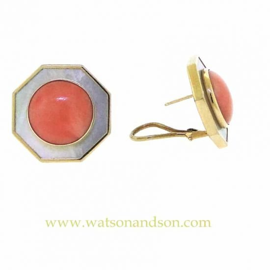 14K Coral And Mother Of Pearl French Earclips 2