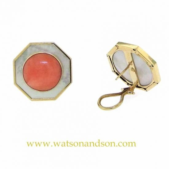14k Coral and Mother of Pearl French Earclips 3