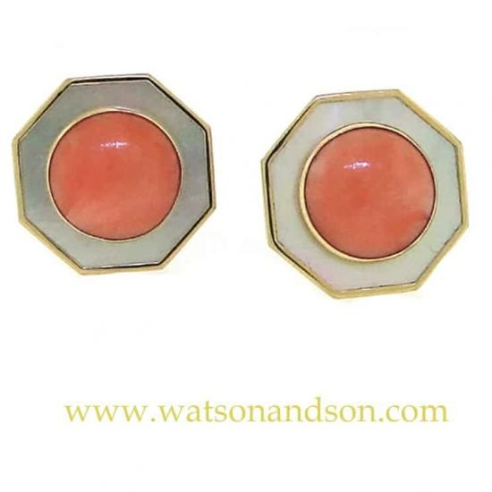 14K Coral And Mother Of Pearl French Earclips 1