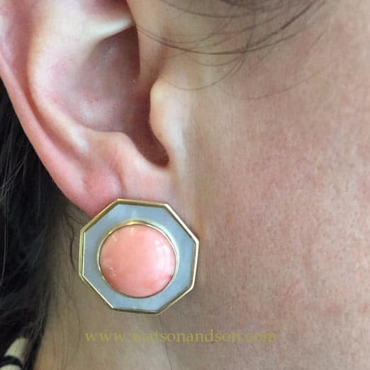 14K Coral And Mother Of Pearl French Earclips 5