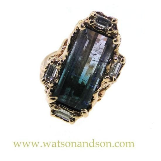 Brutalist Party Colored Tourmaline Ring 3