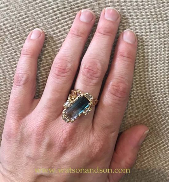 Brutalist Party Colored Tourmaline Ring 6