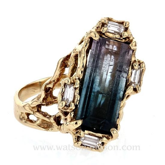 Brutalist Party Colored Tourmaline Ring 1