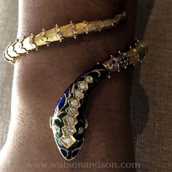 Enameled Coiled Snake Bangle 4