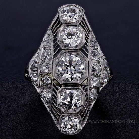 Edwardian Platinum Diamond Dinner Ring 1