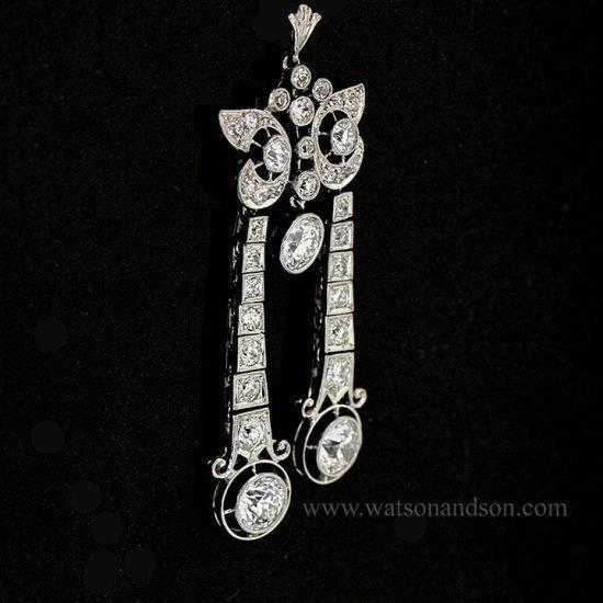 Edwardian Platinum Lingerie Coral &Amp; Diamond Pendant 2