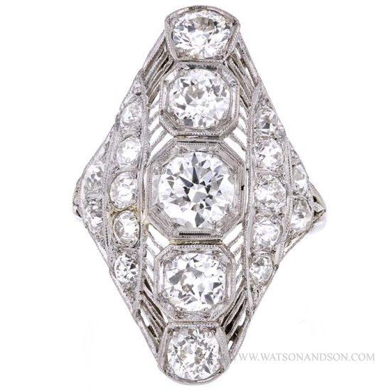 Edwardian Platinum Diamond Dinner Ring 4