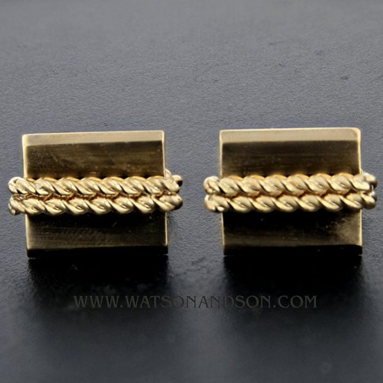 Yellow Gold Double Rope Cuff Links 2