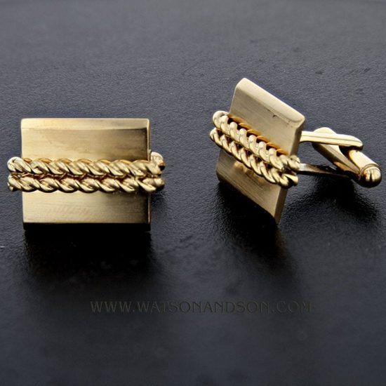 Yellow Gold Double Rope Cuff Links 1