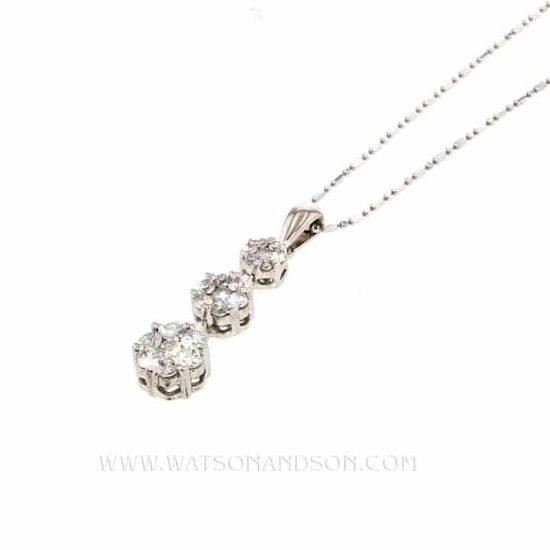 Diamond Triple Drop Pendant &Amp; Chain 1