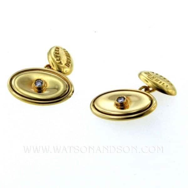 18k Alfred Dunhill Cufflinks with Diamonds 1