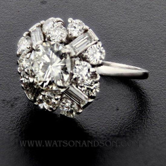 Mid Century Platinum Cluster Ring 2