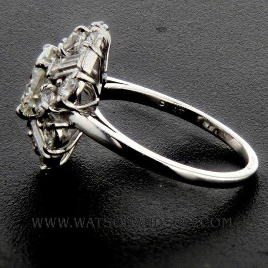 Mid Century Platinum Cluster Ring 3