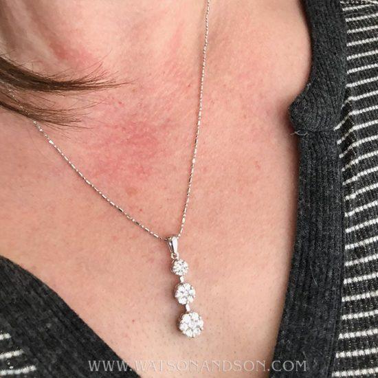 Diamond Triple Drop Pendant &Amp; Chain 3