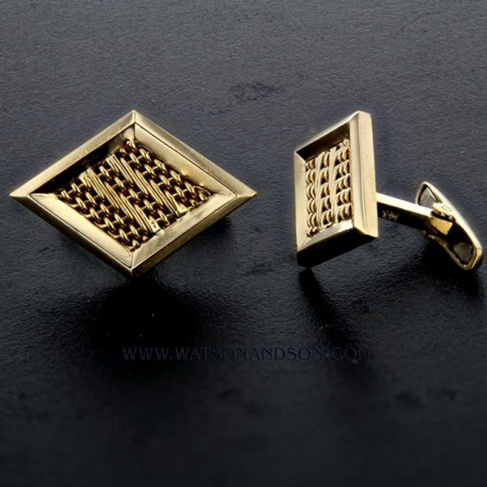 Woven Diamond Shaped Cuff Links 1