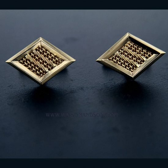 Woven Diamond Shaped Cuff Links 3