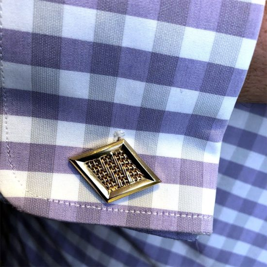 Woven Diamond Shaped Cuff Links 2