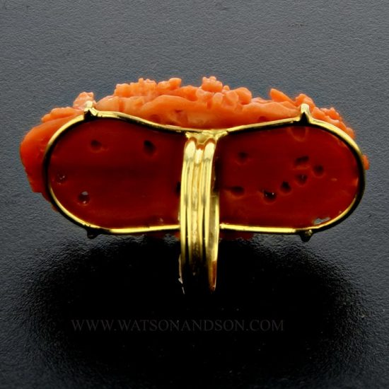 Bold Carved Coral Ring 3