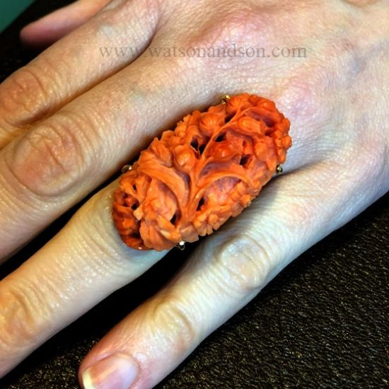 Bold Carved Coral Ring 4