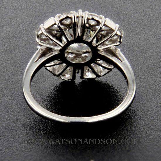 Mid Century Platinum Cluster Ring 4