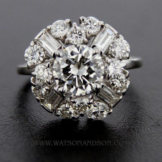 Mid Century Platinum Cluster Ring 1