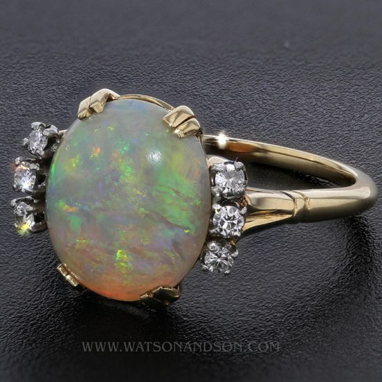 14K Opal And Diamond Ring 2