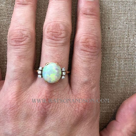 14K Opal And Diamond Ring 6